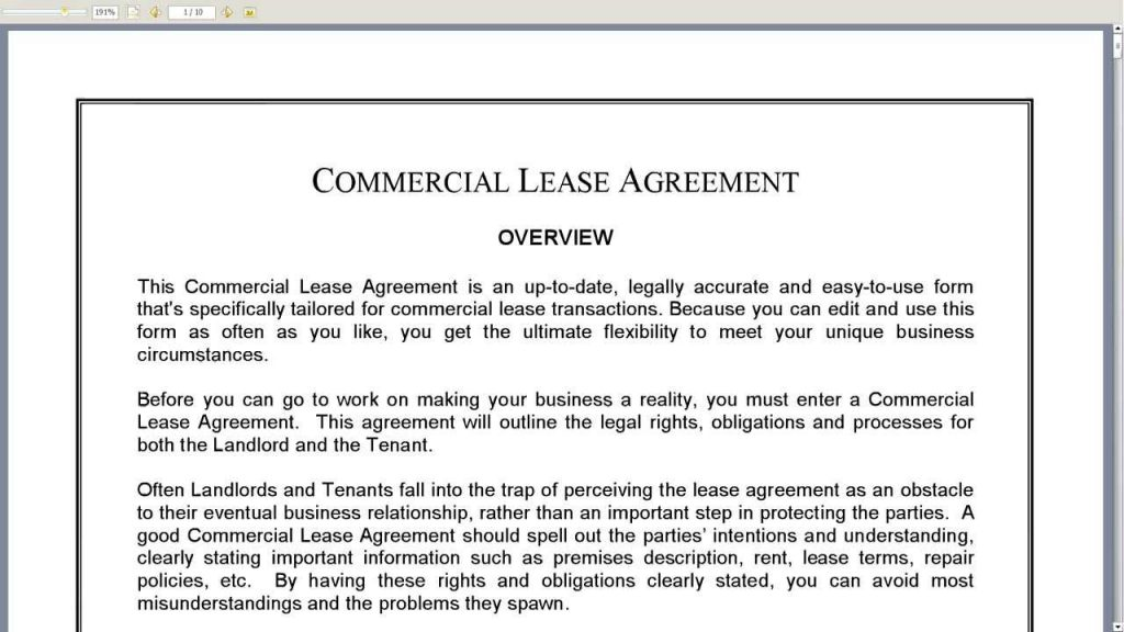 How Should A Commercial Lease Rent Agreement Be Used