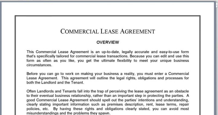 How Should a Commercial Lease Rent Agreement Be Used?